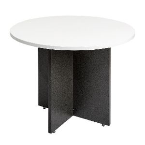Velocity 900mm Round Table White and Ironstone
