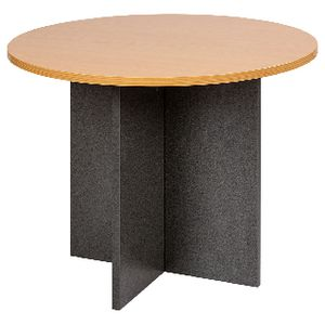 Velocity Round Table 900mm Golden Beech and Ironstone Grey