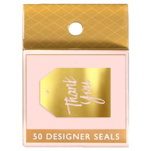 Paper Chic Metallic Seals Thank You Gold 50 Pack