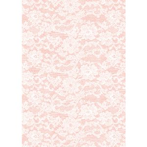 Paper Chic A4 English Lace  Embossed Paper Rose 5 Pack