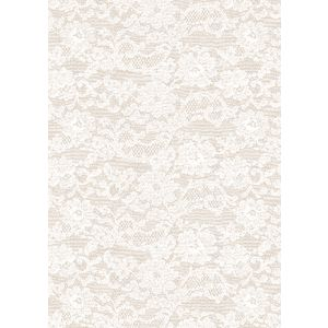 Paper Chic A4 English Lace  Embossed Paper Pearl 5 Pack