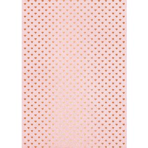 Paper Chic A4 Hearts Foiled Paper Pink and Rose Gold 5 Pack