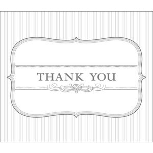 Paper Chic Thank You Cards Pinstripe Silver 10 Pack