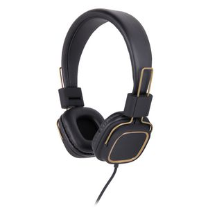 Qudo Fabric Over Ear Headphones Black and Gold