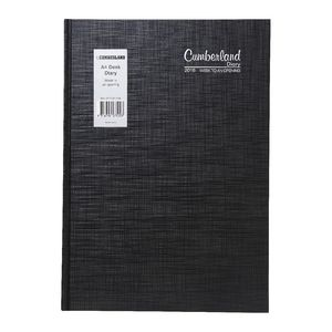 Cumberland Casebound A4 Week to View 2016 Diary Black