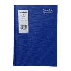 Cumberland Casebound A5 Week to View 2016 Diary Blue