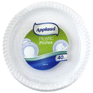 Applaud Disposable Plastic Plates 22cm White 40 Pack