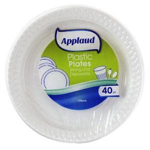 Applaud Disposable Plastic Plates 18cm White 40 Pack