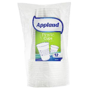 Applaud Disposable Plastic Cups 490mL Clear 12 Pack