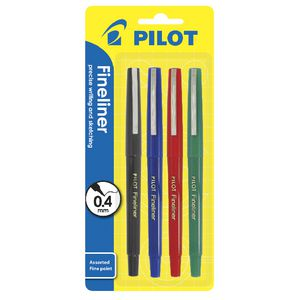 Pilot 0.4mm Fineliners Assorted 4 Pack
