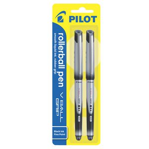 Pilot Fine V Ball Grip Rollerball Pens Black 2 Pack