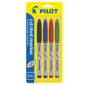 Pilot CD/DVD Marker Assorted 4 Pack