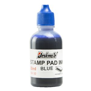 Deskmate Stamp Pad Refill Ink 30mL Blue