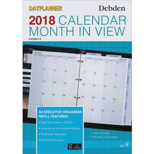 Collins Debden A4 Monthly Dated Dayplanner