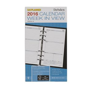 Collins Debden Personal Dayplanner Week to View 2016 Refill