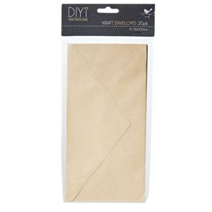 DIYi DL Envelopes Kraft 20 Pack