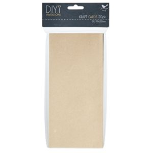 DIYi DL Folded Cards Kraft 20 Pack
