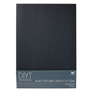 DIYi 250gsm A4 Textured Cardstock Black 20 Sheets