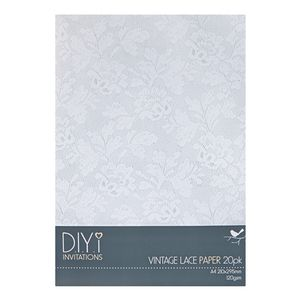 DIYi Vintage Lace Paper 120gsm A4 20 Pack