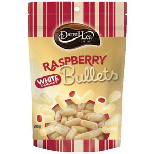 Darrell Lea White Chocolate and Raspberry Bullets 200g