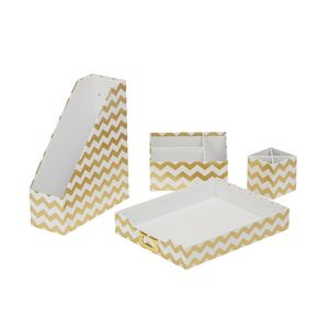 Otto Desk Accessory Set Gold Chevron 4 Pack