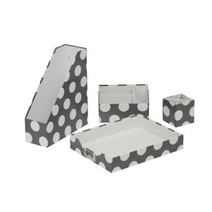 Otto Desk Accessory Set Grey Dot 4 Pack
