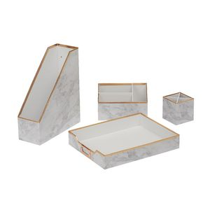 Otto Desk Accessory Set Marble 4 Pack Officeworks