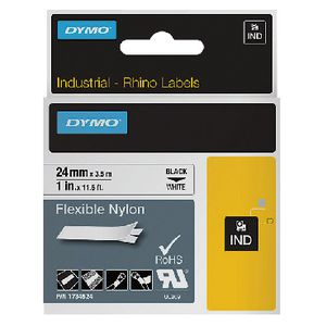 DYMO Industrial Flexible Nylon Tape 24mm Black on White