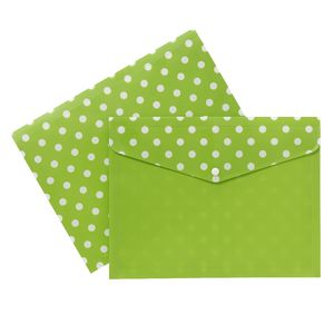 Document Wallet A4 Printed PP Green and White