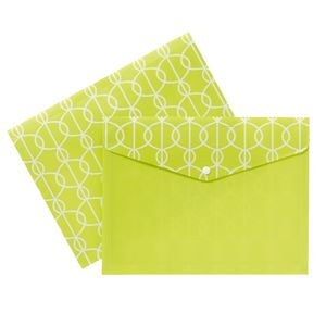 Document Wallet A4 Printed PP Lime and White