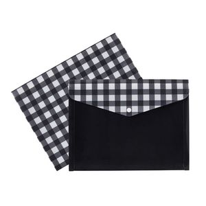 Otto Document Wallet A4 Printed PP Black and White Tartan
