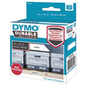 DYMO LW Durable Labels 25 x 89mm White Poly 100 Pack