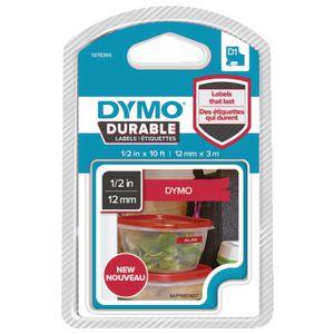 DYMO D1 Durable Label Tape 12mm White on Red
