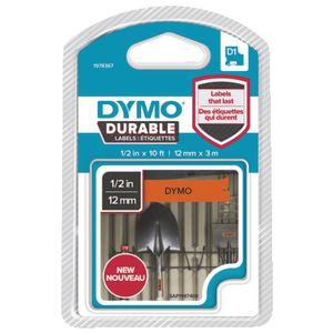 DYMO D1 Durable Label Tape 12mm Black on Orange
