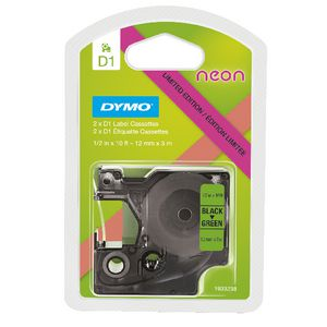 DYMO D1 Label Tape 12mm Black on Neon 2 Pack