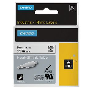DYMO Industrial Heat Shrink Tube 9mm Black on White