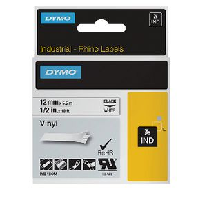 DYMO Industrial Vinyl Tape 12mm Black on White