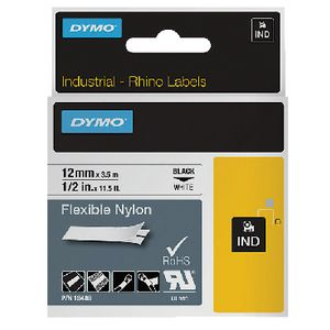DYMO Industrial Flexible Nylon Tape 12mm Black on White
