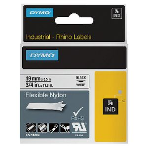DYMO Industrial Flexible Nylon Tape 19mm Black on White