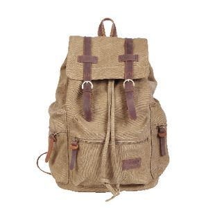 "Zoomlite Canvas 11"" Backpack with Leather Trim Beige"