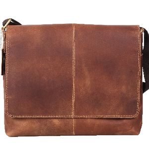 "Zoomlite Parker Vintage Leather 13"" Messenger Bag Brown"