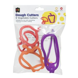Educational Colours Vegetable Dough Cutters 6 Pack
