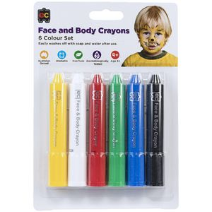 Educational Colours Assorted Face and Body Crayons 6 Pack