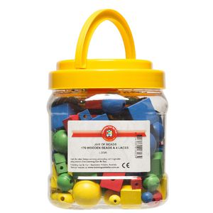 Learning Can Be Fun Wooden Beads Jar of 176