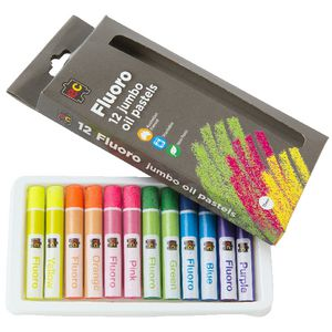 Educational Colours Jumbo Fluoro Oil Pastels 12 Pack