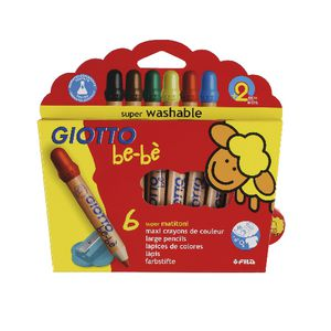 Giotto Be-Be Jumbo Coloured Pencils 6 Pack
