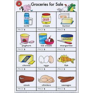 Learning Can Be Fun Groceries For Sale Poster