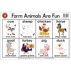 Learning Can Be Fun Farm Animals Are Fun Placemat