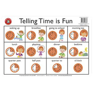 Learning Can Be Fun Desk Mat Time Telling Time Is Fun