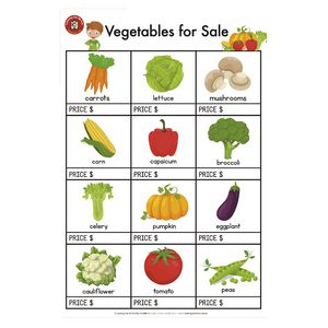 Learning Can Be Fun Vegetables For Sale Poster